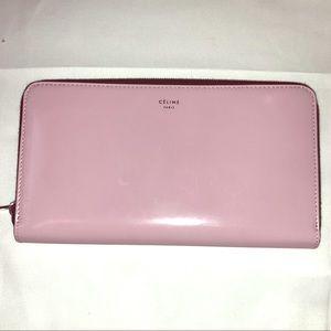 Celine zip around light pink wallet